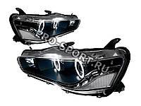 """Передние фары тюнинг Mitsubishi Lancer X 2007+ """"ангельские глазки"""", с дневными ходовыми огнями, черные"""
