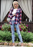 Женская Рубашка Ковбойка в Клетку L-3XL