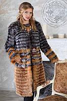 """Пальто из чернобурки и лисы """"Илона"""" silver fox fur coat jacket , фото 1"""