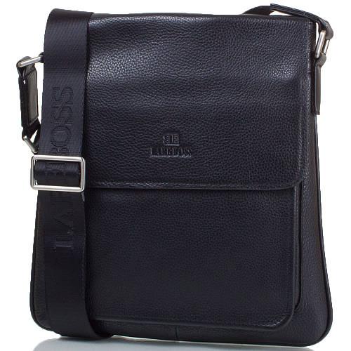 Практичная мужская сумка-почтальонка из натуральной кожи LARE BOSS (ЛАРЕ БОСС) TU146-2-black черный