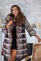 """Шуба полушубок жилет из чернобурки """"Натали"""" silver fox fur coat jacket vest gilet"""