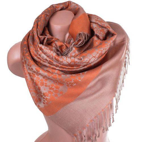 Прекрасный женский двусторонний палантин из пашмины 165 на 69 см ETERNO ES2707-12-4 оранжевый