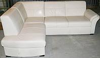 Угловой диван кожаный, со спальным местом, белый. Бесплатная доставка