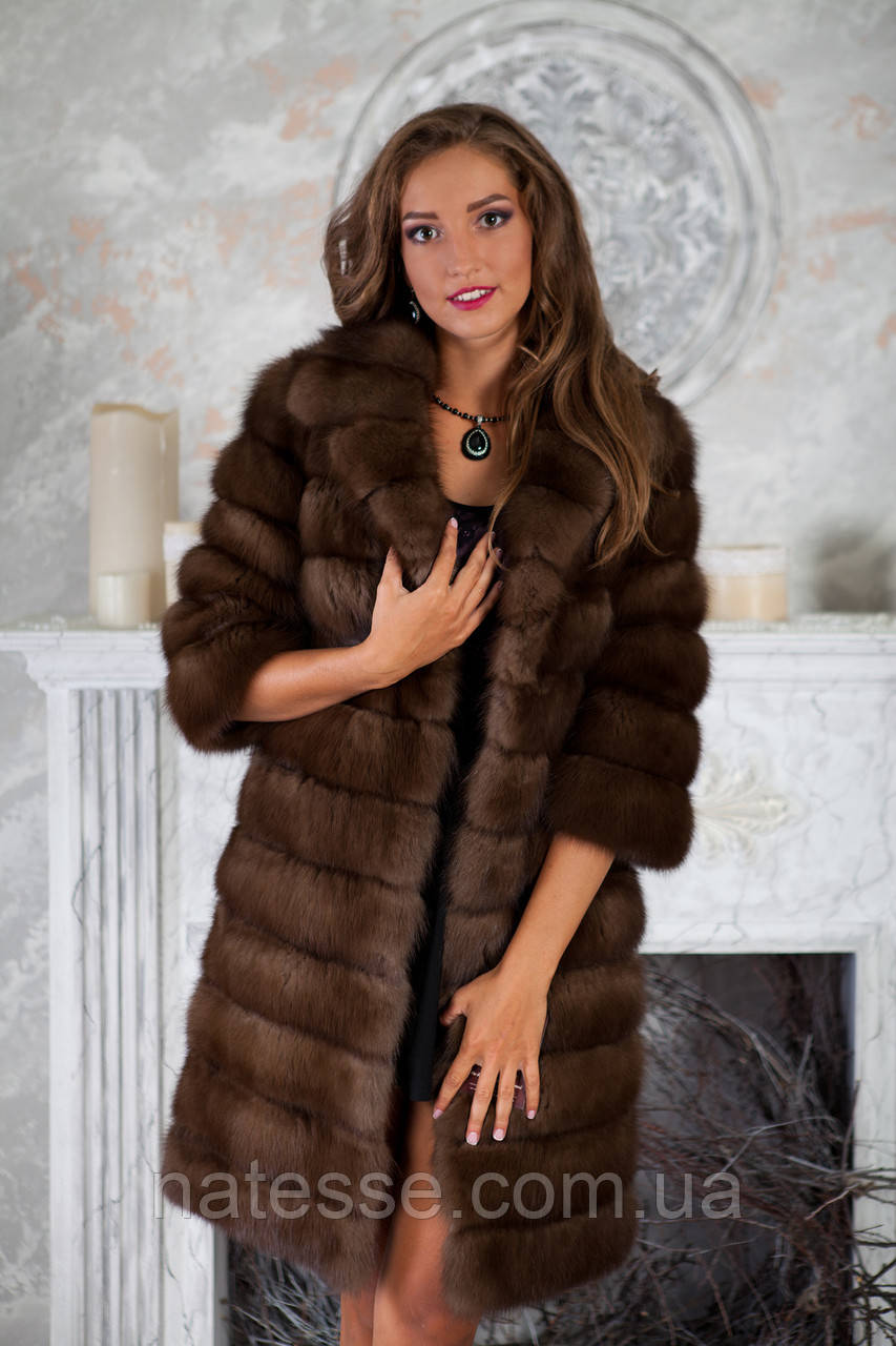"""Шуба полушубок из куницы """"Аделина"""" marten fur coat jacket, фото 1"""