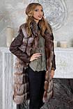 "Шуба из чернобурки ""Камилла"" silver fox fur coat jacket vest gilet, фото 3"