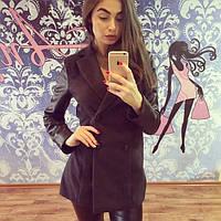 Женское модное пальто с кожаными рукавами