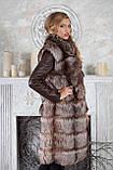 "Шуба из чернобурки ""Камилла"" silver fox fur coat jacket vest gilet, фото 5"