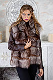 "Шуба из чернобурки ""Камилла"" silver fox fur coat jacket vest gilet, фото 6"