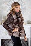 "Шуба из чернобурки ""Камилла"" silver fox fur coat jacket vest gilet, фото 7"