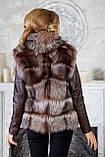 "Шуба из чернобурки ""Камилла"" silver fox fur coat jacket vest gilet, фото 8"