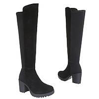 Женские сапоги - ботфорты на толстом каблуке из натральной замши черного цвета