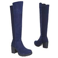 Женские сапоги - ботфорты на толстом каблуке из натральной замши синего цвета