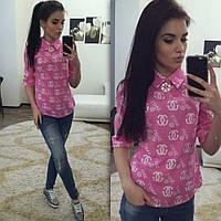 Женская прямая рубашка на спине змейка+ пуговица розовая штапель 1008/1936 ЕМ