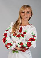 Вышиванка женская c красными маками