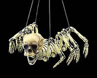 Паук подвесной с человеческим черепом - украшение на хеллоуин!
