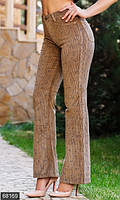 Трендовые женские брюки клеш со средней посадкой вельвет Турция