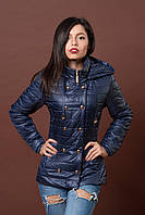 Женская молодежная демисезонная куртка. Код модели К-75-12-17. Цвет темно синий.