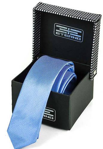 Современный мужской шелковый галстук ETERNO (ЭТЕРНО) ETEG672 голубой