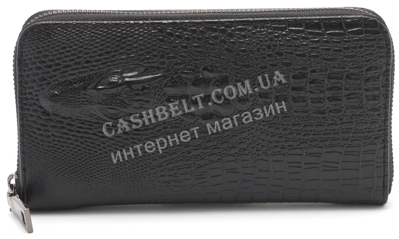 Женский кошелек барсетка черного цвета крокодил  FUERDANI art.600-1