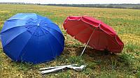 Зонт без клапаном 2,5м - 12спиц и серебренным напылением красный