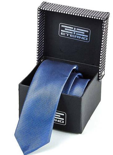 Однотонный мужской шелковый галстук ETERNO (ЭТЕРНО) ETEG673 синий