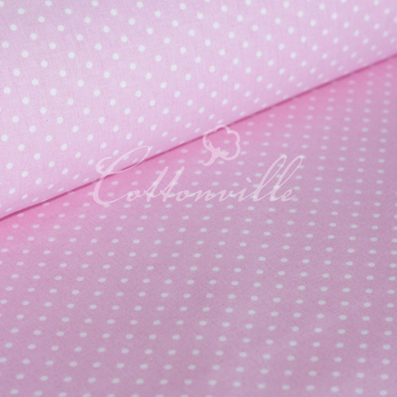✁ Відрізи тканини Горошки 4 мм на рожевому