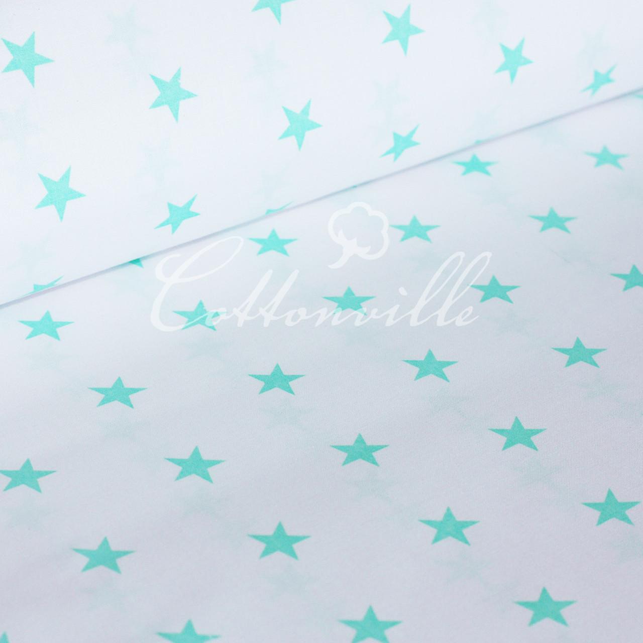 Бязь м'ятні зірочки на білому (22 мм)