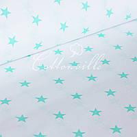 Бязь м'ятні зірочки на білому (22 мм), фото 1