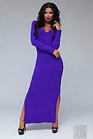 Яркое ангоровое платье в пол с глубоким декольте фиолетовое