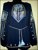 """Вишиванка жіноча  """"Дві дороги"""" на синьому шифоні, блуза вишита жовтими та голубими нитками, машинна вишивка"""