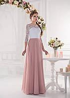 Длинное платье в пол с  лифом и расклешенной  юбкой