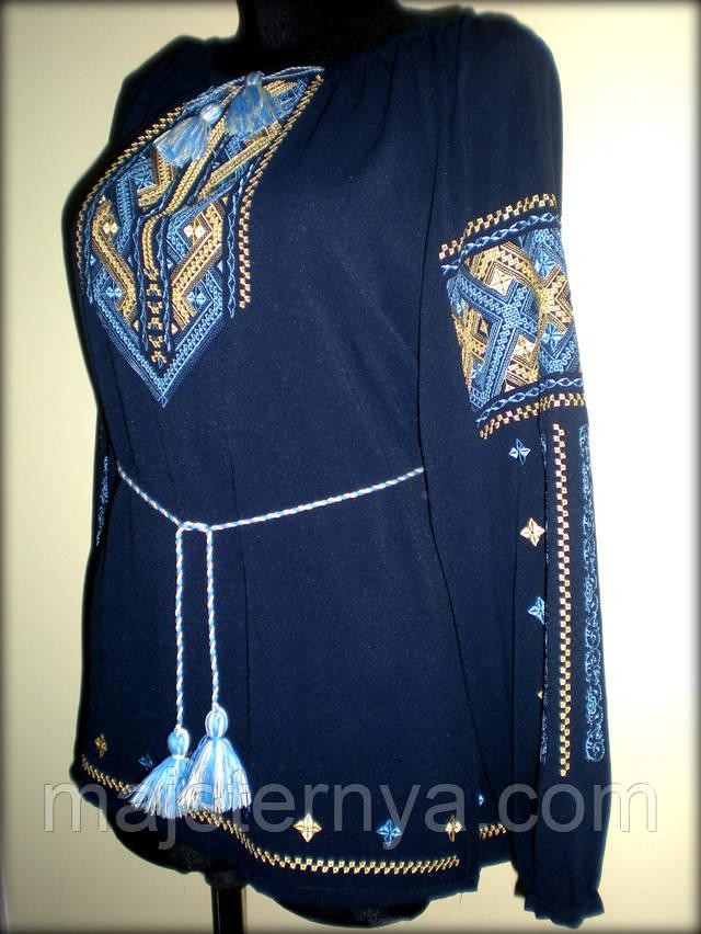 Вишита жіноча блуза на синьому шифоні жовтими та голубими нитками. Узір