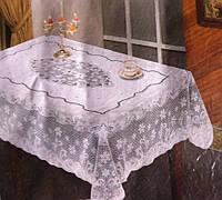 Кухонная скатерть ажурный винил с цветочным узором