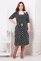 Платье летнее в горошек длиной ниже колена большого размера 54-60