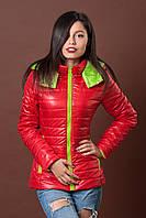 Женская молодежная демисезонная куртка. Код модели К-76-12-17. Цвет темно красный с лимонным.
