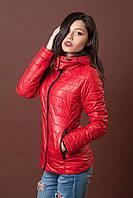 Женская молодежная демисезонная куртка. Код модели К-76-12-17. Цвет красный с черным.