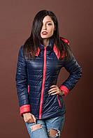 Женская молодежная демисезонная куртка. Код модели К-76-12-17. Цвет темно синий с коралловым.