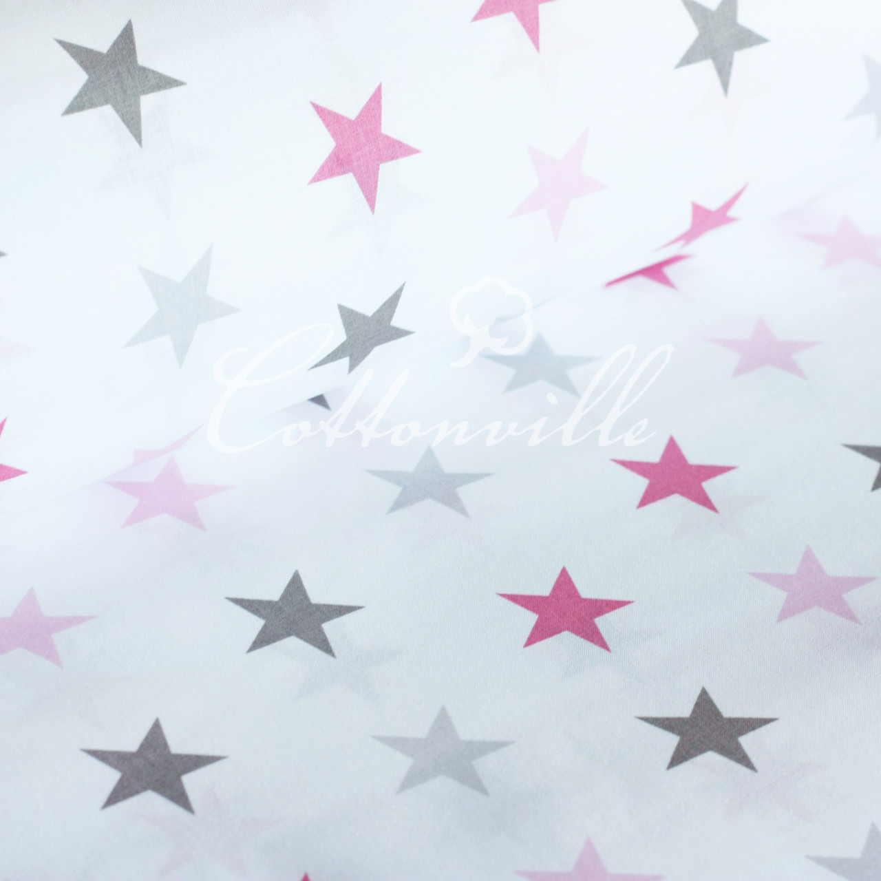 Бязь Серые розовые звезды (40 мм)