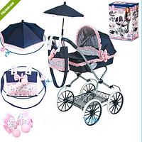Коляска для куклы детская классическая «Романтик» с зонтиком DeCuevas 81014
