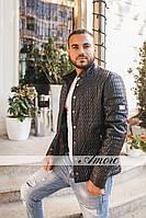 Мужская куртка из качественного кожзама на синтепоне  облегающая по фигуре ромбик большой и маленький фисташка