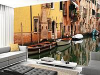 """Фотообои """"Венеция  и гондолы"""", Фактурная текстура (холст, иней, декоративная штукатурка)"""