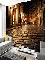 """Фотообои """"Ночные улицы"""", Текстуры: Холст, Иней, Декоративная штукатурка"""