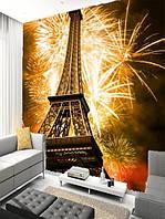 "Фотообои ""Огни Парижа"", Текстуры: Холст, Иней, Декоративная штукатурка"