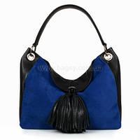 Женская кожаная сумка Katerina Fox синего цвета из натуральной кожи (KF-694)