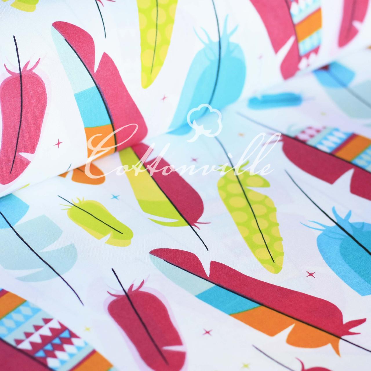 ✁Отрезы хлопковой ткани Крупные разноцветные перышки