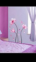 Виниловая наклейка на стену розовые цветы