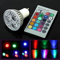 Разноцветная светодиодная лампочка на 3W E27, GU10, E16 с пультом управления