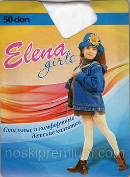 Капронові Колготки дитячі білі Elena, 50 Den, Україна, розмір C (140-152 см), малюнок Роза, 8907