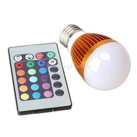 Разноцветная светодиодная лампочка на 3W E27 с пультом дистанционного управления, фото 2