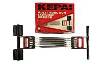 Эспандер пружинный 3 в 1 плечевой, кистевой, для пресса Kepai 5 пружин (металл, пластик,l-35см)
